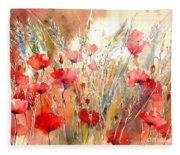 Poppy Fields Forever Fleece Blanket