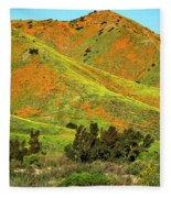 Poppy Hills And Gullies Fleece Blanket