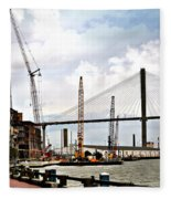 Port Of Savannah Crane Construction Fleece Blanket