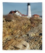 Portland Head Light - Cape Elizabeth Maine Fleece Blanket