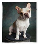Portrait Of A French Bulldog Fleece Blanket