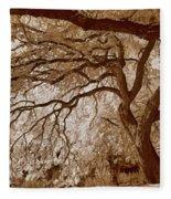 Portrait Of A Tree In Infrared Fleece Blanket