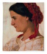 Portrait Of Angela B Cklin In Red Fishnet Fleece Blanket