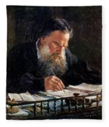 Portrait Of Leo Tolstoy Fleece Blanket