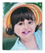 Portrait Of Little Girl. Fleece Blanket