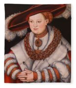 Portrait Of Magdalena Of Saxony, Wife Of Elector Koachim II Fleece Blanket