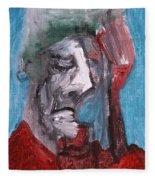Portrait On Blue Fleece Blanket