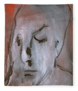 Portrait On Red Fleece Blanket
