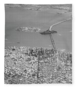 Portrait View Of Downtown San Francisco From Commertial Airplane Fleece Blanket
