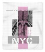 Poster Art Nyc Brooklyn Bridge Details - Pink Fleece Blanket