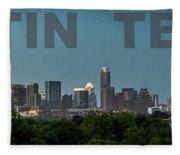 Poster Of Downtown Austin Skyline Over The Green Trees Fleece Blanket