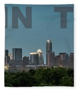 Poster Of Downtown Austin Skyline Over The Green Trees Fleece Blanket