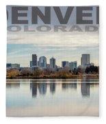 Poster Of Downtown Denver At Dusk Reflected On Water Fleece Blanket
