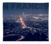 Poster Of Downtown San Francisco With Harbor On The Right Fleece Blanket