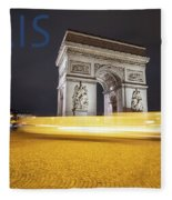 Poster Of The Arch De Triumph With The Eiffel Tower In The Picture Fleece Blanket
