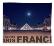 Poster Of  The Louvre Museum At Night With Moon Above The Pyrami Fleece Blanket