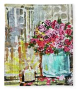 Potted Roses With Candle Fleece Blanket