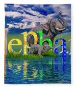 Precious E Is For Elephant Fleece Blanket