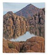 Prescott Arizona Watson Lake Hill Rcoks Water Sky Clouds 3 122019 4865 Fleece Blanket