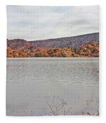 Prescott Arizona Watson Lake Hills Mountains Rocks Water Grasses Cloudy Sky 3142019 4920 Fleece Blanket