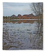 Prescott Arizona Watson Lake Sky Clouds Hills Rocks Trees Grasses Water 3142019 4920 Fleece Blanket