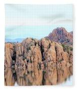 Prescott Arizona Watson Lake Water Mountains Lake Rocks Sky Reflections 4835 Fleece Blanket