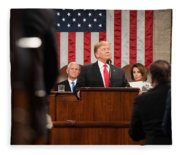 President Donald J. Trump Delivers His State Of The Union Address At The U.s. Capitol 2 Fleece Blanket