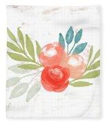 Pretty Coral Roses - Art By Linda Woods Fleece Blanket