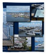 Provincetown Marina Cape Cod Massachusetts Collage Fleece Blanket