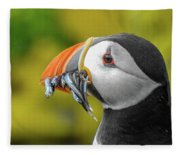 Puffin With A Mouthful Fleece Blanket