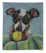 Puppy With Tennis Ball Fleece Blanket