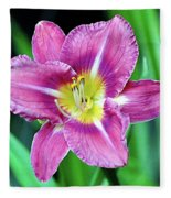 Purple And Yellow Flower Fleece Blanket