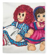 Raggedy Ann And Friend  Fleece Blanket