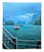 Rain Aboard Au Co Cruise Ha Long Bay  Fleece Blanket