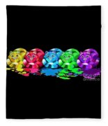 Rainbow Painted Cats Fleece Blanket