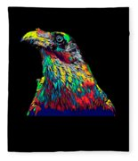 Raven Head Weird Bird Lucky Vintage Design Fleece Blanket