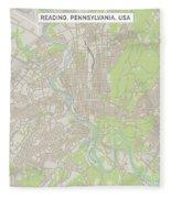 Reading Pennsylvania Us City Street Map Fleece Blanket