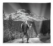 Rear View Of A Sasquatch Hitchhiking Fleece Blanket