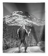 Rear View Of A Sasquatch Hitchhiking Fleece Blanket