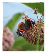 Red Admiral Butterfly On Milkweed Fleece Blanket