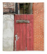 Red Alley Door Chinatown Washington Dc Fleece Blanket by Edward Fielding