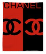Red And Black Chanel Fleece Blanket