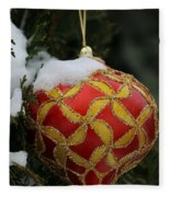 Red And Gold Ornament Fleece Blanket
