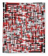 Red Black White Geometric Fleece Blanket