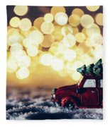 Red Car With Christmas Tree Driving Through Snow Fleece Blanket