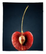 Red Cherry Still Life Fleece Blanket