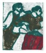 Red Detachment Of Women Painting Fleece Blanket
