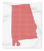 Red Dot Map Of Alabama Fleece Blanket