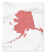 Red Dot Map Of Alaska Fleece Blanket
