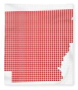 Red Dot Map Of Arkansas Fleece Blanket